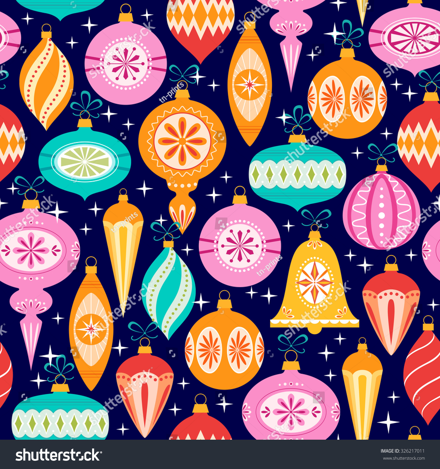 Bright Christmas Pattern Multicolored Ornaments On Stock Vector ...