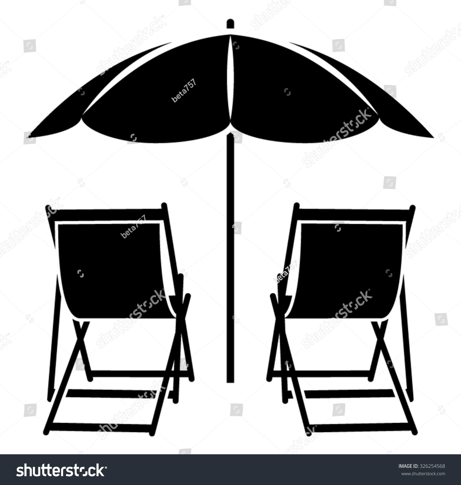 Vector Deck Chairs Under Beach Umbrella Stock Vector