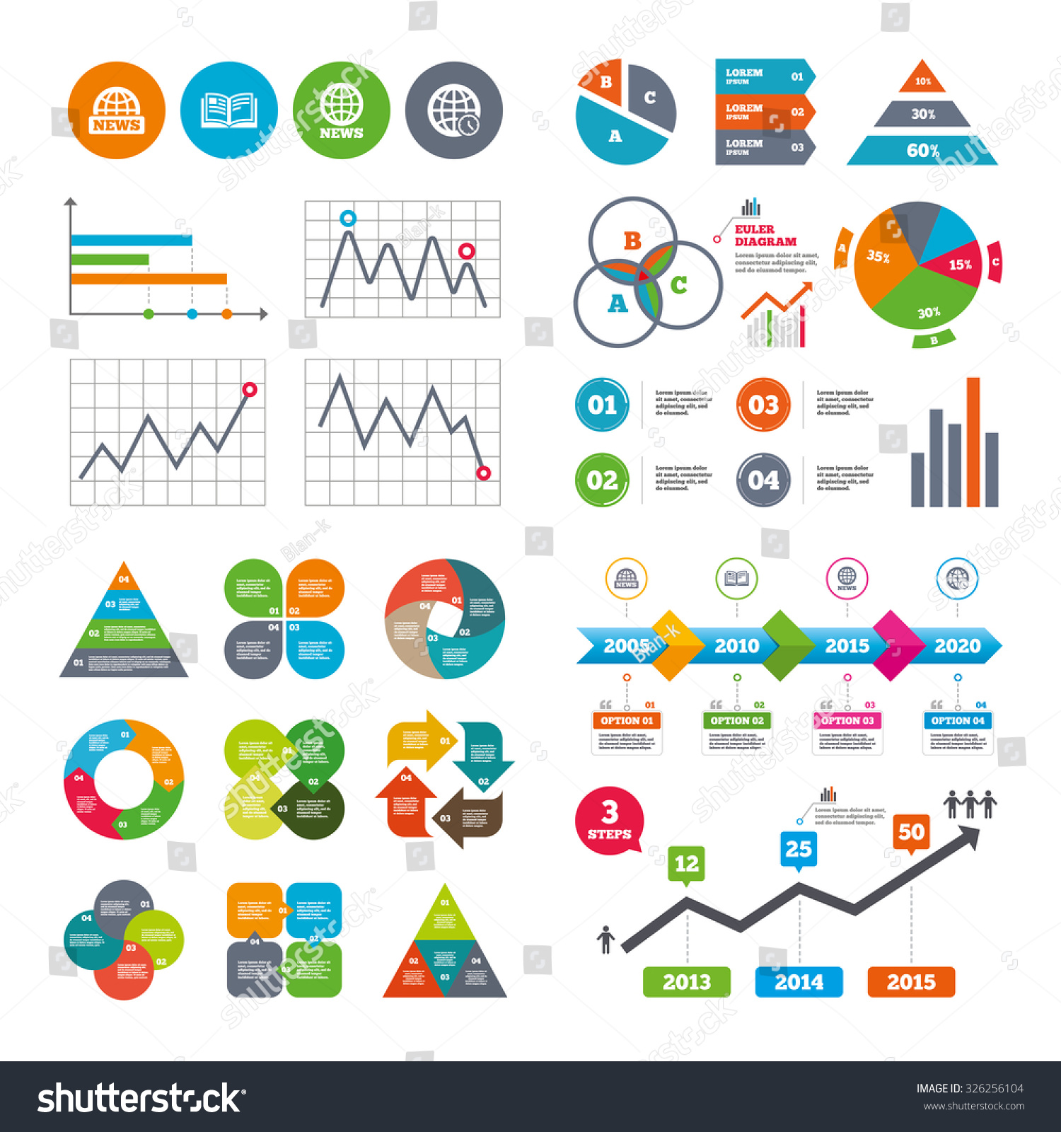 business data pie charts graphs news stock vector  business data pie charts graphs news icons world globe symbols open book sign