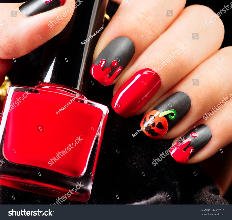 Halloween Nail Art Design Nail Polish Stock Photo (Royalty Free ...