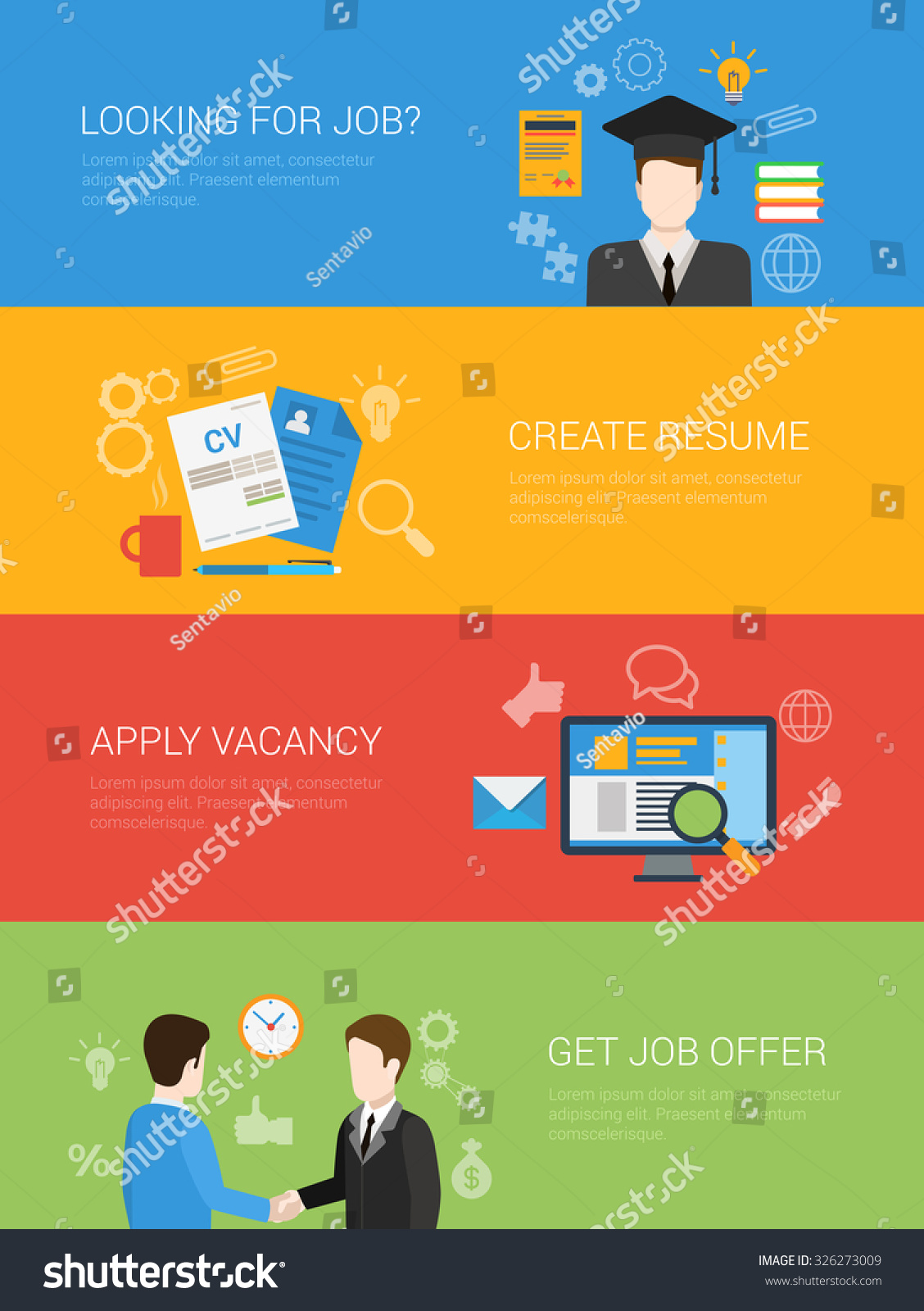flat style looking job offer create stock vector  flat style looking for job offer create resume apply vacancy website banner infographic icon set