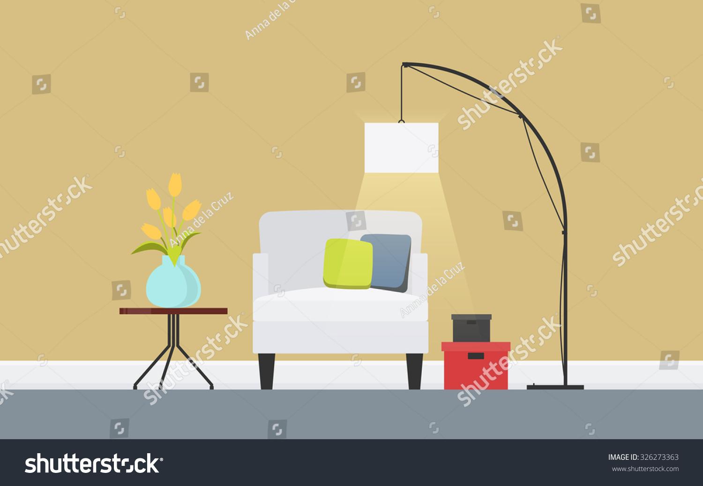 Illustration Modern Living Room Furniture Lounge Stock