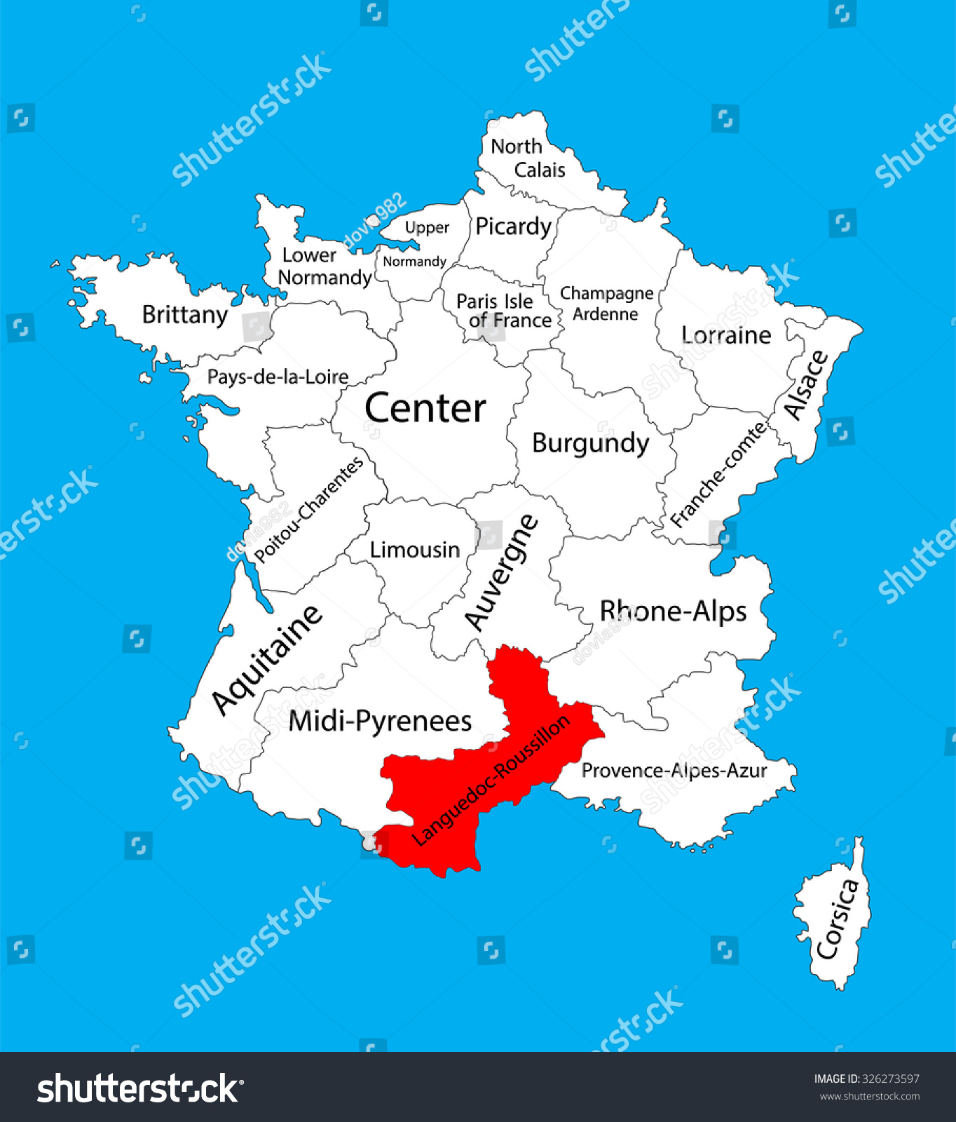 Roussillon France Map.Vector Map State Languedoc Roussillon Location On Stock Vector