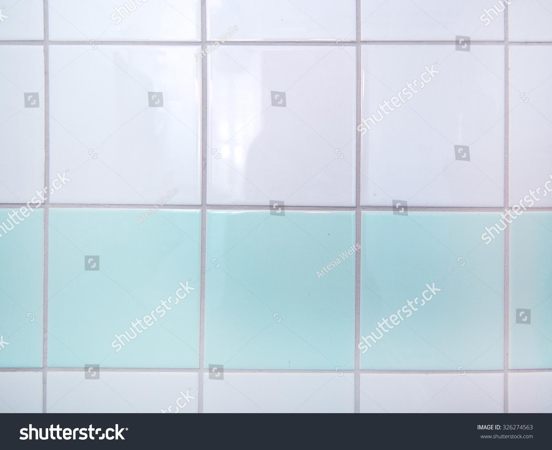 Bathroom Tiles White Mint Green Closeup Stock Photo (Royalty Free ...