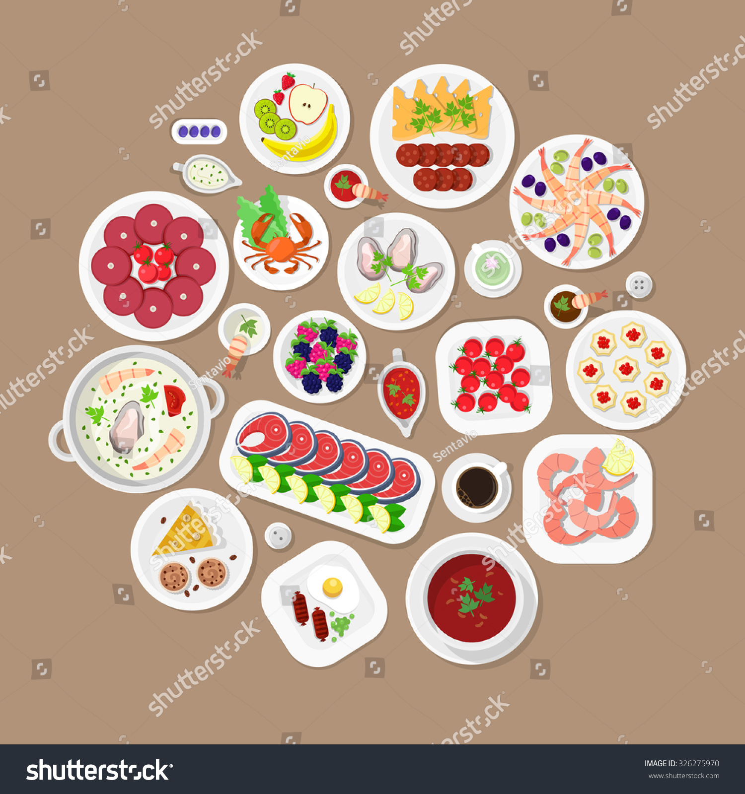 For restaurant pictures graphics illustrations clipart photos - Restaurant Flat Style Design Vector Graphic Top View Elements Set Lobster Fish Steak Shrimps Oysters