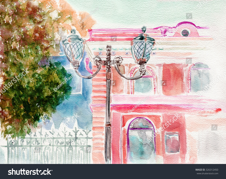 Pink House Lantern Hand Drawn Watercolor Stock Illustration ...