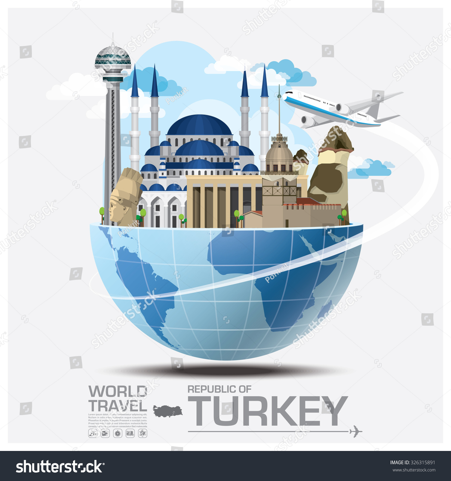 Turkey landmark global travel journey infographic stock for Landmark design