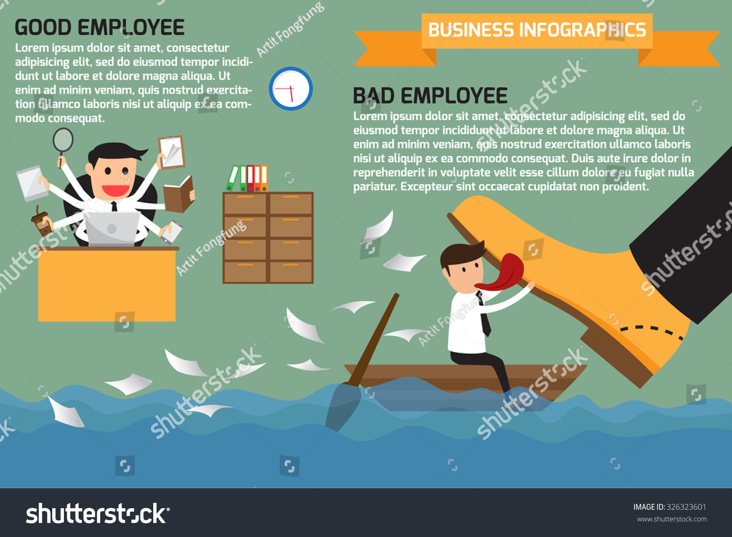 difference between good bad employee bad stock vector  the difference between a good and bad employee bad and good worker infographics vector