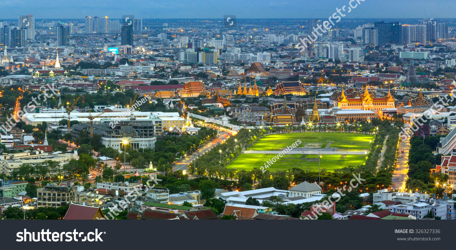 Birds Eye View Of Sanam Luang And The Grand Palace Of Thailand. Stock Photo 3...