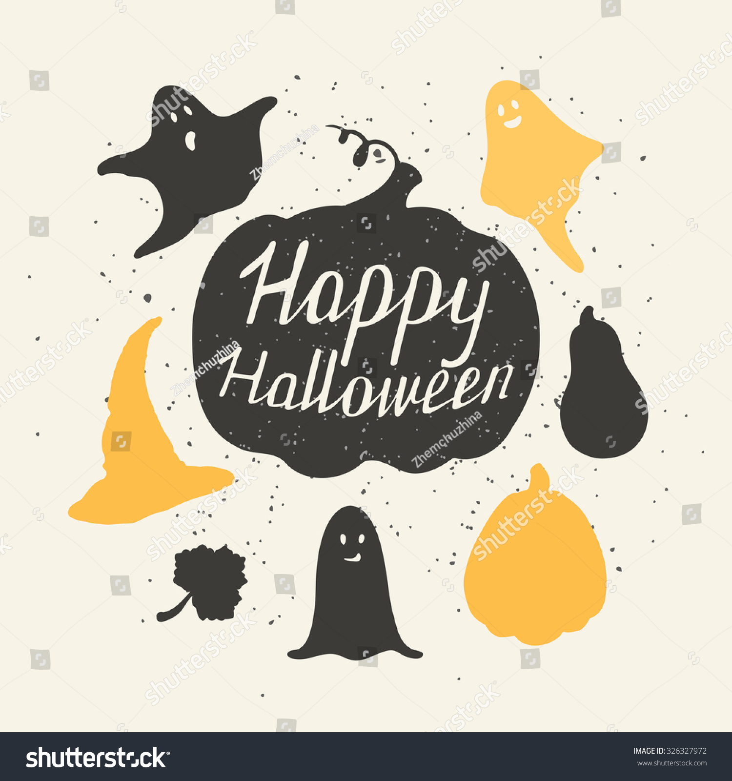 Hand Drawn Halloween Silhouettes Collection Pumpkin Stock Vector ...