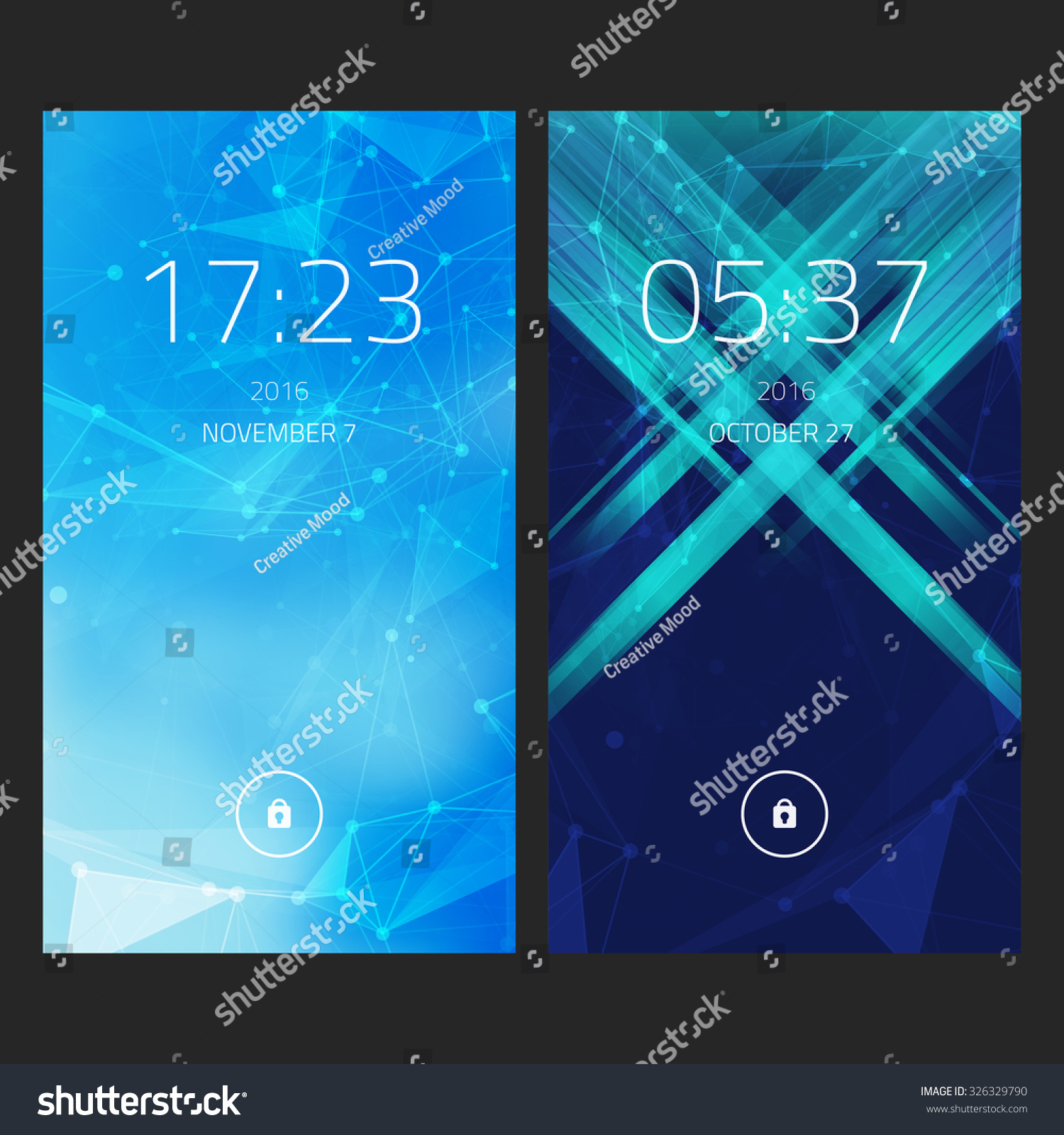 Mobile Interface Wallpaper Design Set Abstract Image Vectorielle De