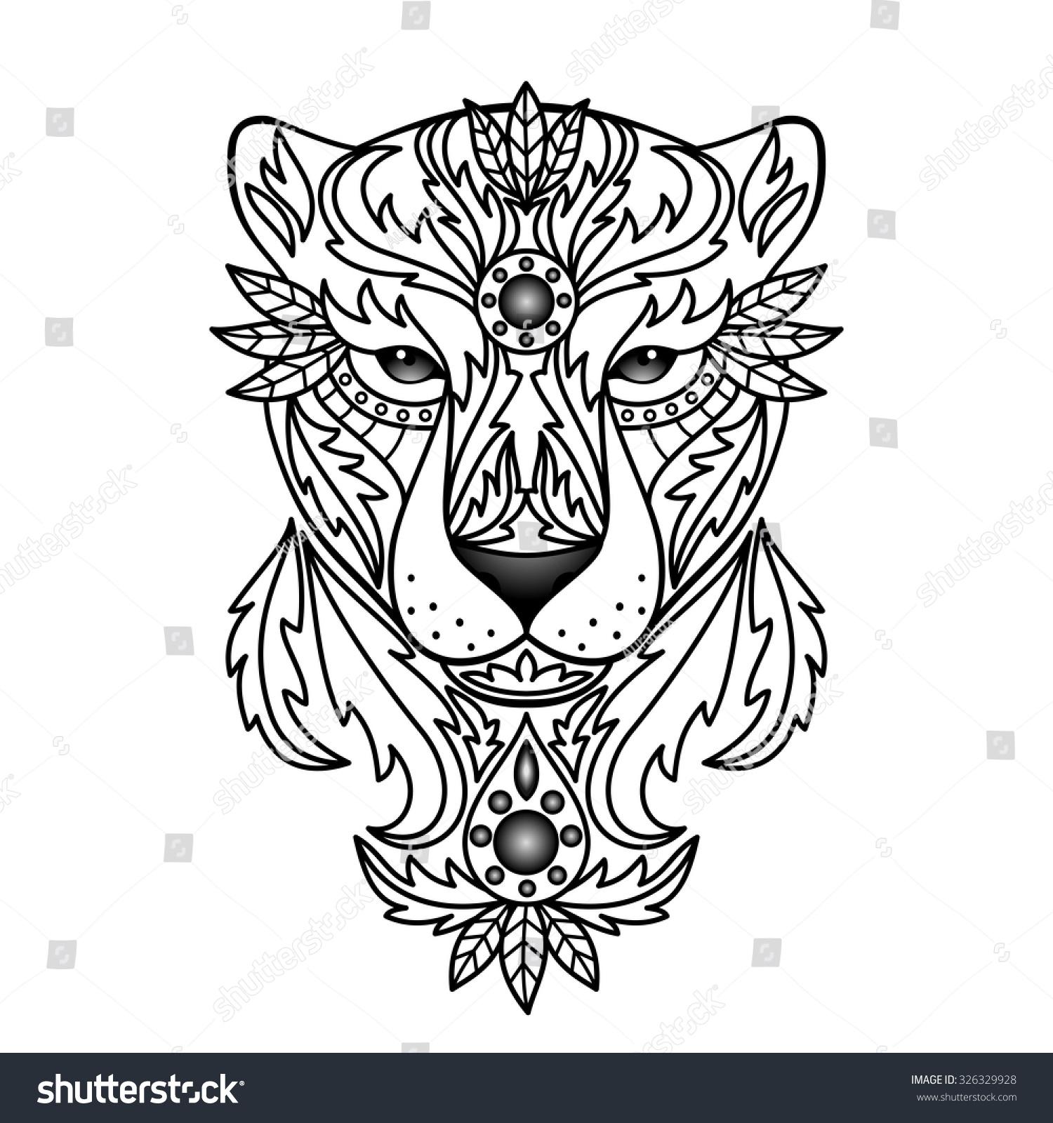 Ornamental Panther Vector Illustration Textile Prints