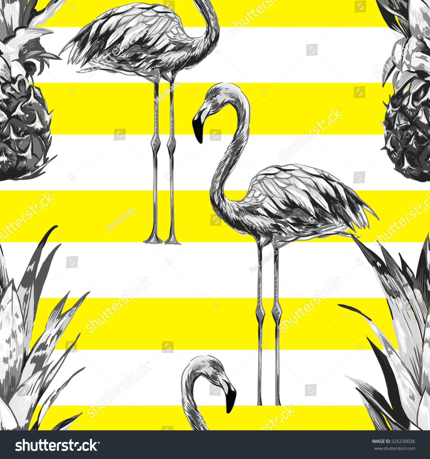 Beautiful seamless vector floral tropical pattern background with pineapples monochrome flamingos Abstract striped geometric texture