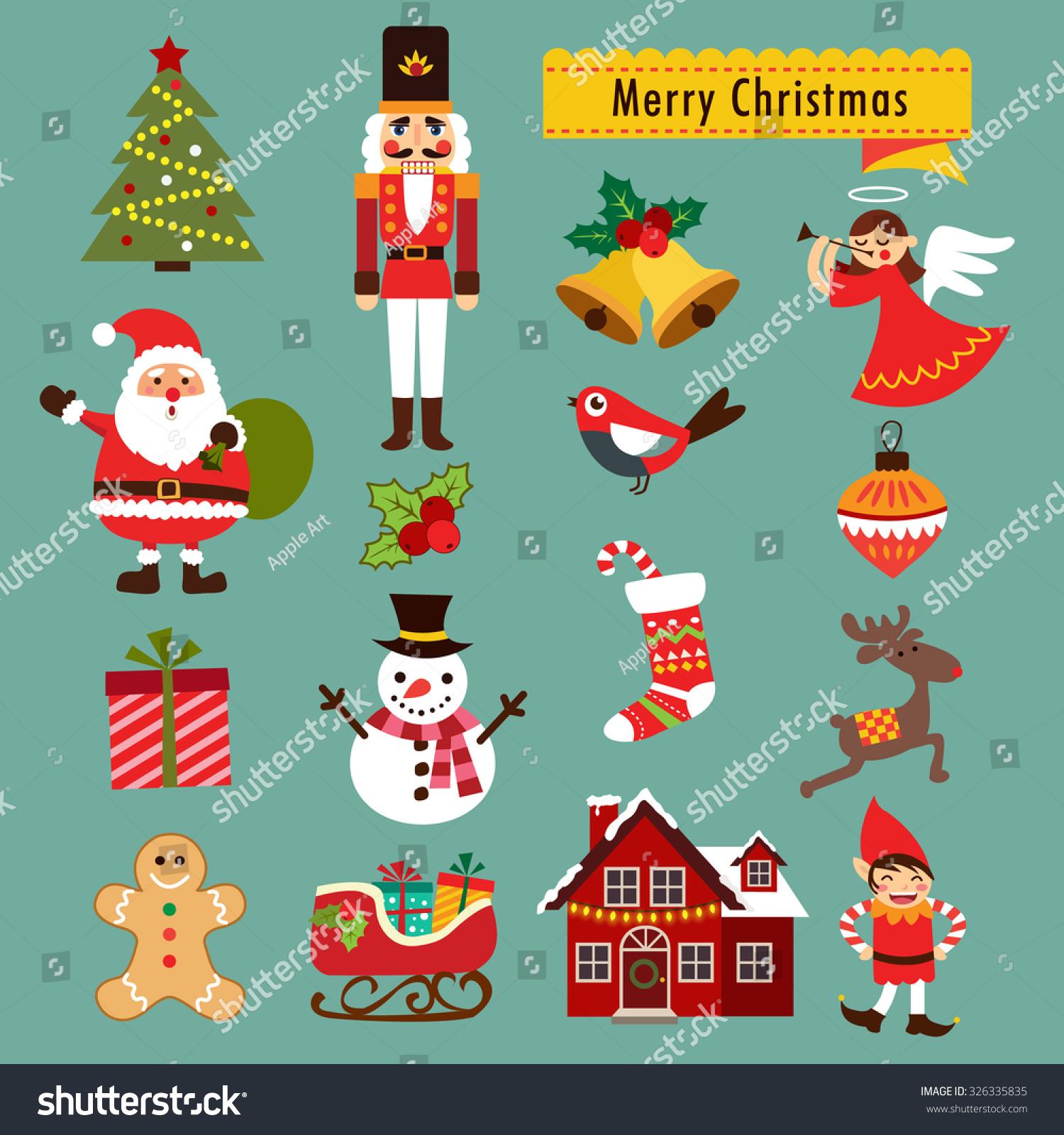 Christmas Tree Decoration Elements: Christmas Decoration Icons Illustration Elements Stock