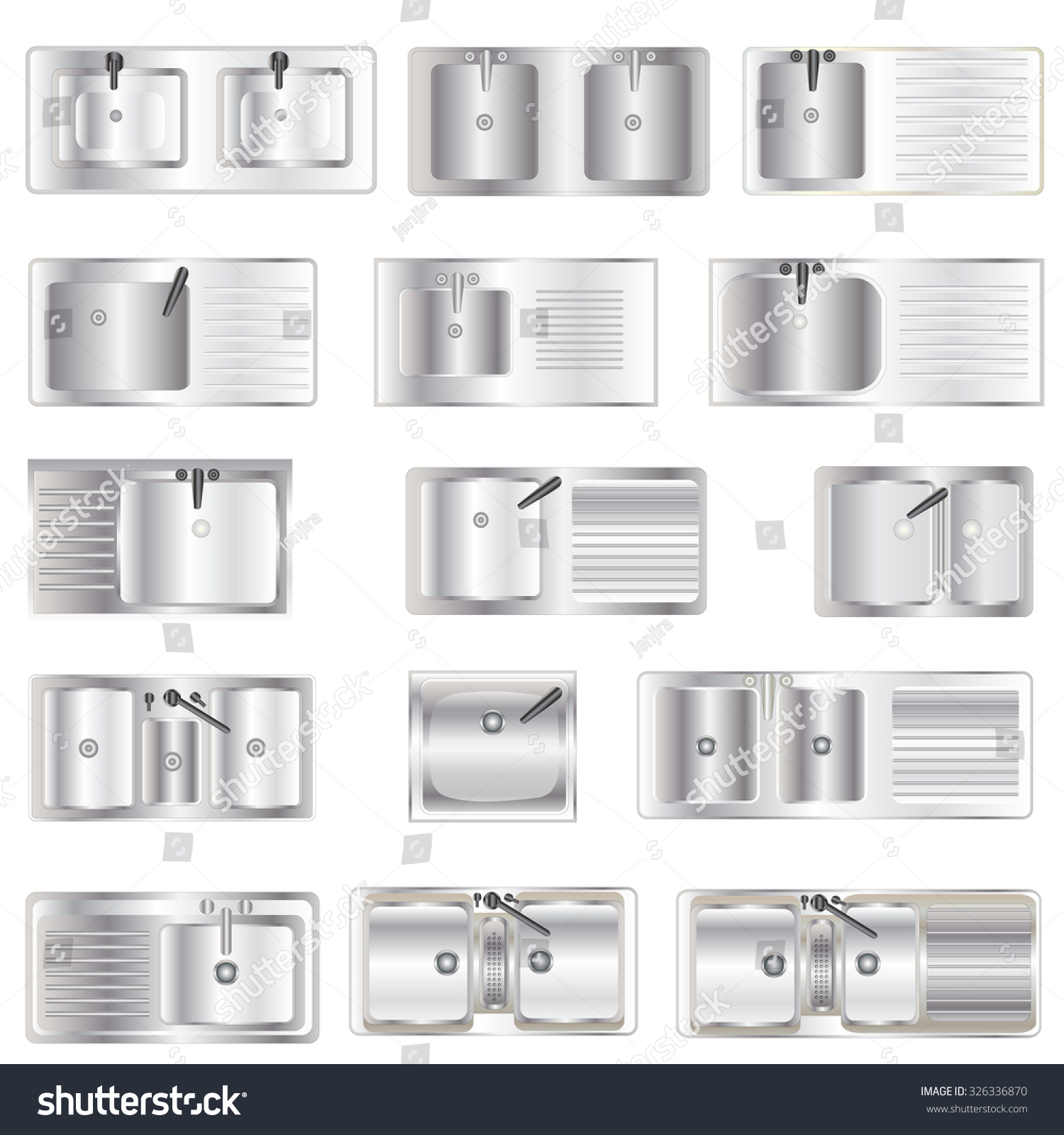 Kitchen Top View : Royalty free kitchen equipment sinks top view set