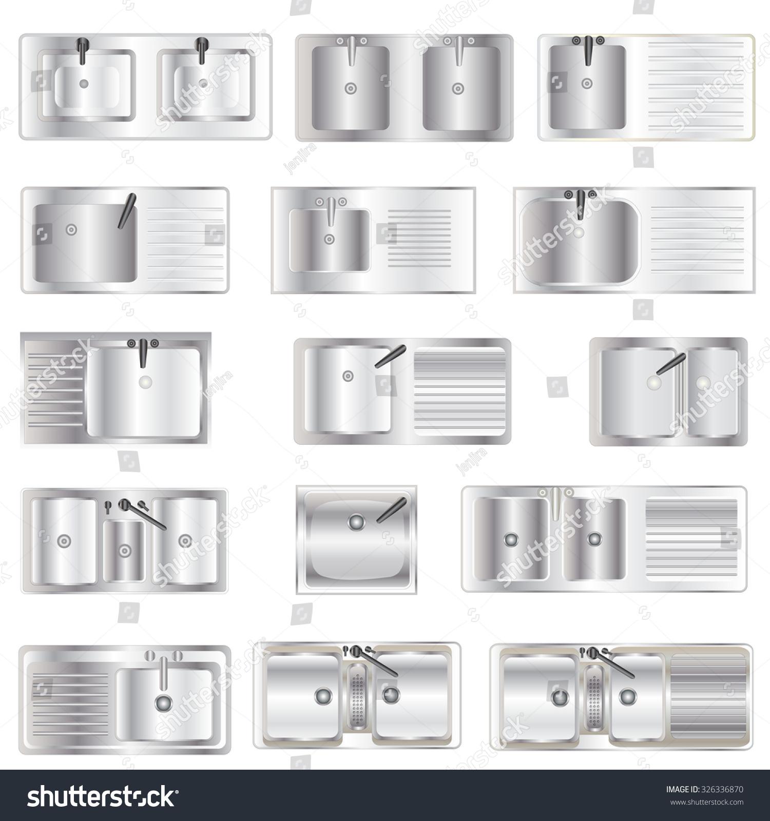 Kitchen Equipment Sinks Top View Set Stock Vector