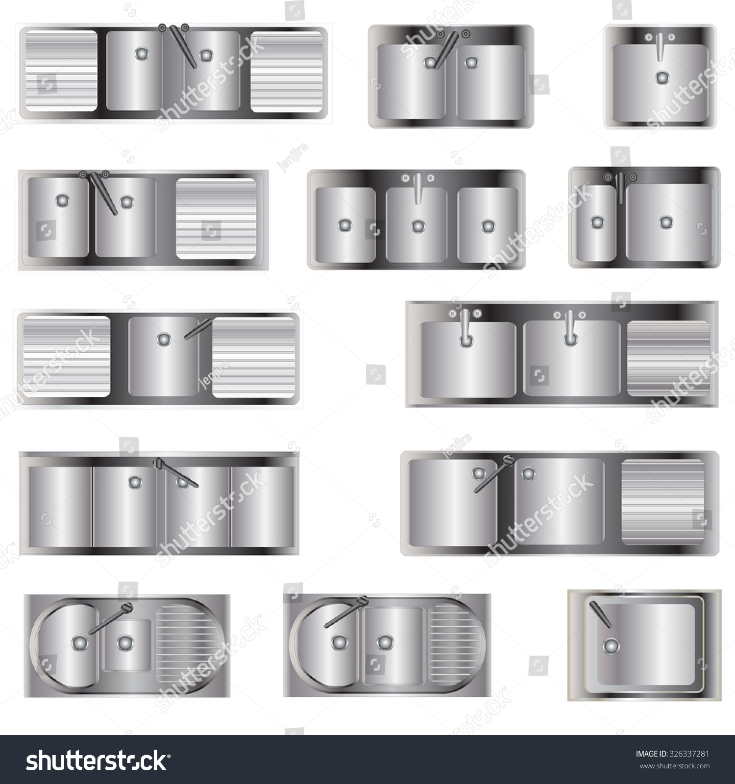 Kitchen Equipment , Sinks Top View Set 2 For Interior