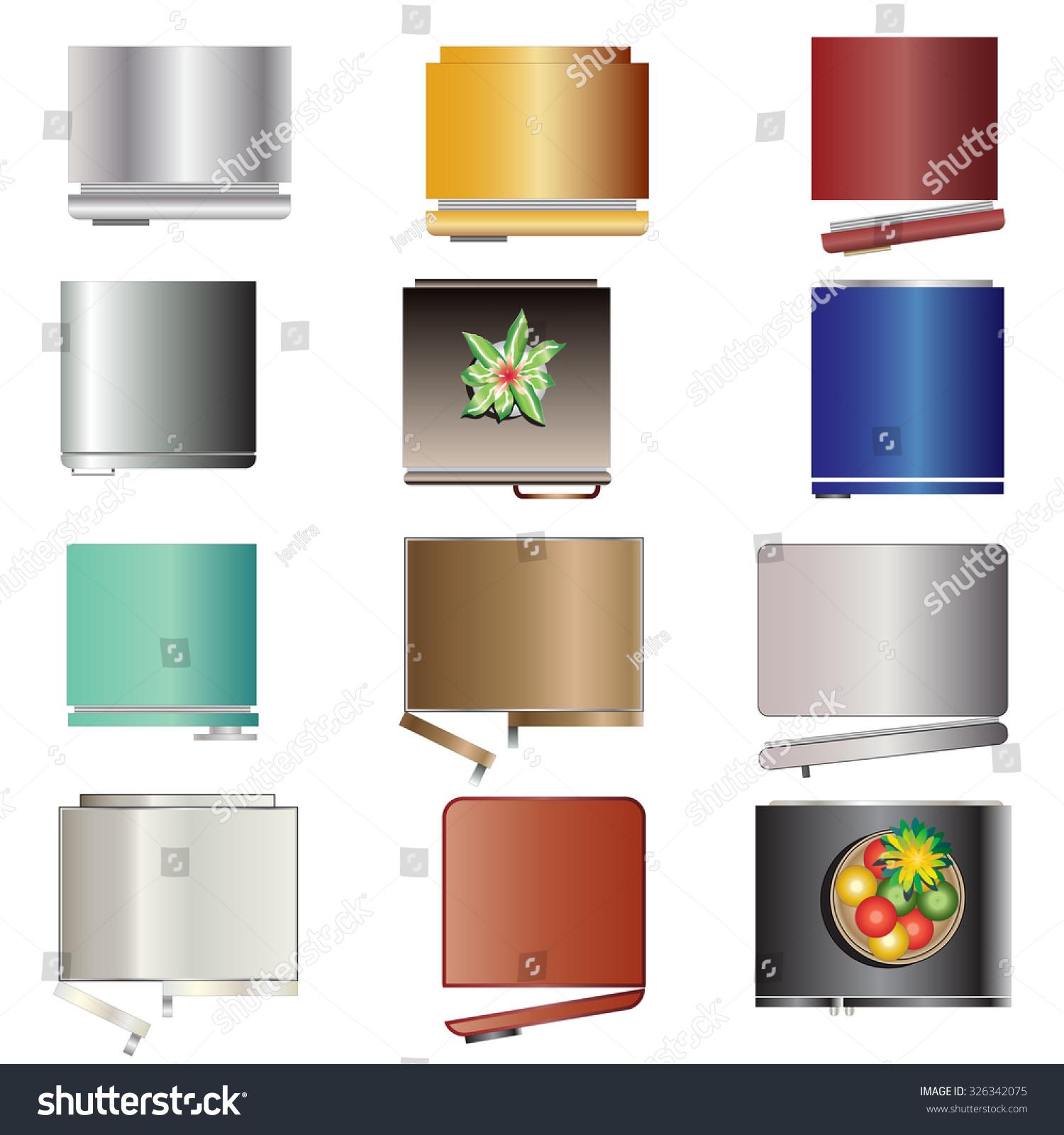 Kitchen Set Top View: Kitchen Equipment Refrigerators Top View Set Stock Vector