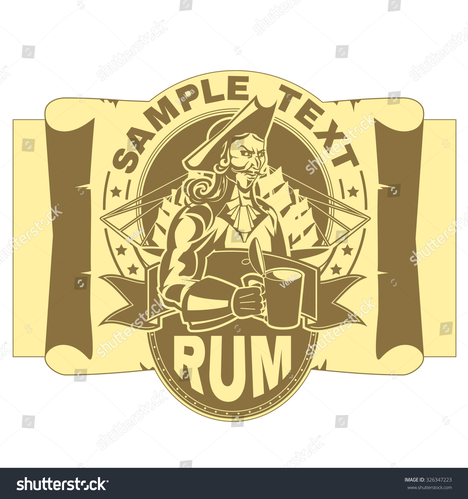 Label Template Picture Pirate Glass Rum Stock Vector 326347223