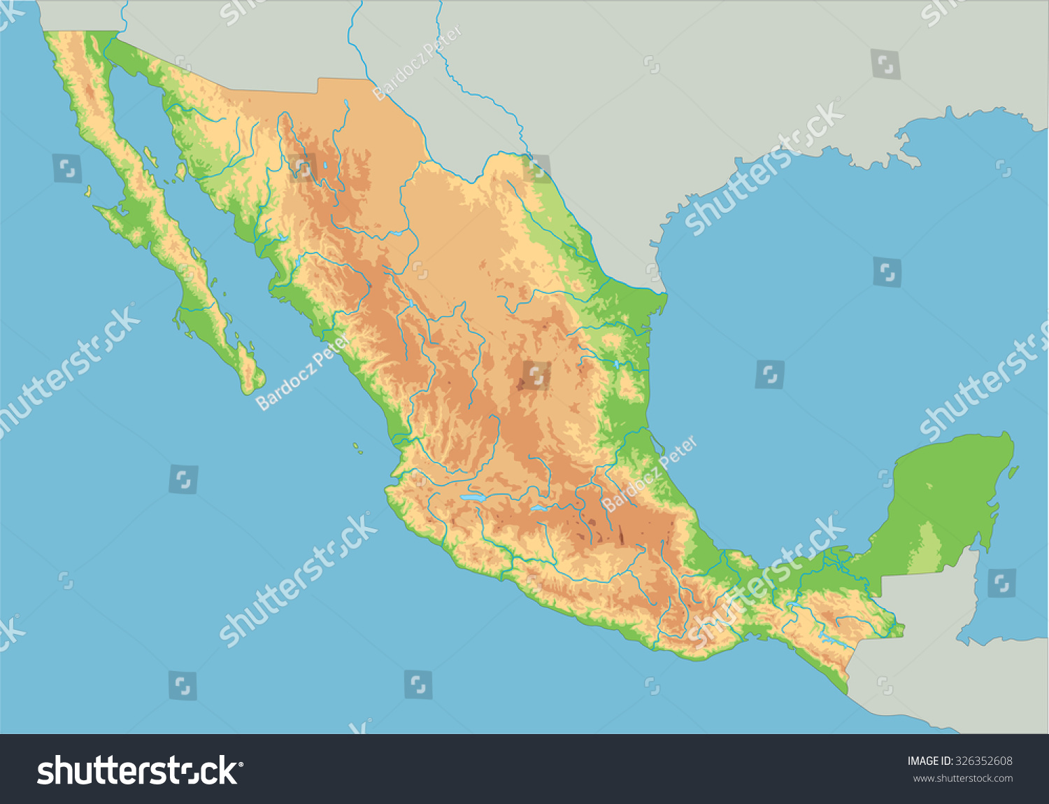 High Detailed Mexico Physical Map Stock Vector - Mexico physical map