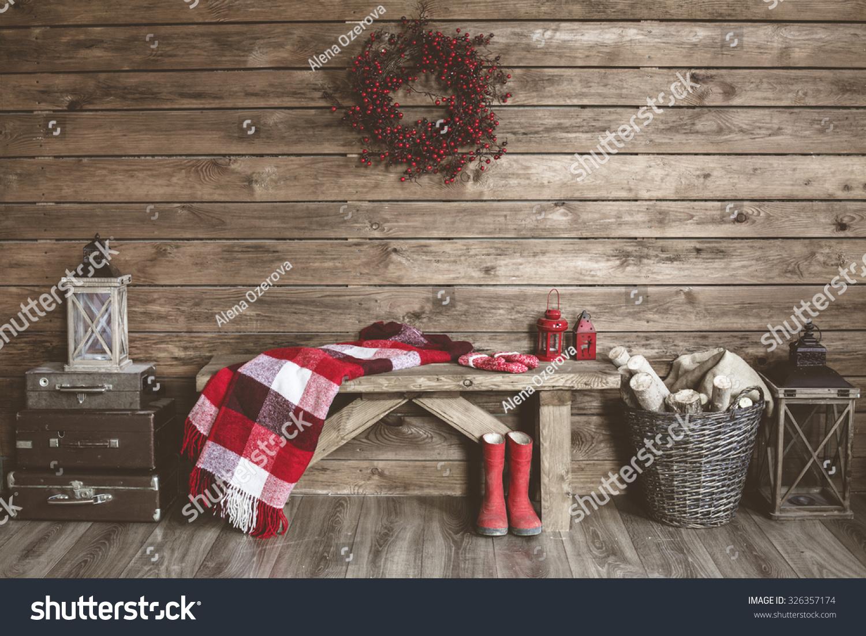 winter home decor christmas rustic interior stock photo 326357174