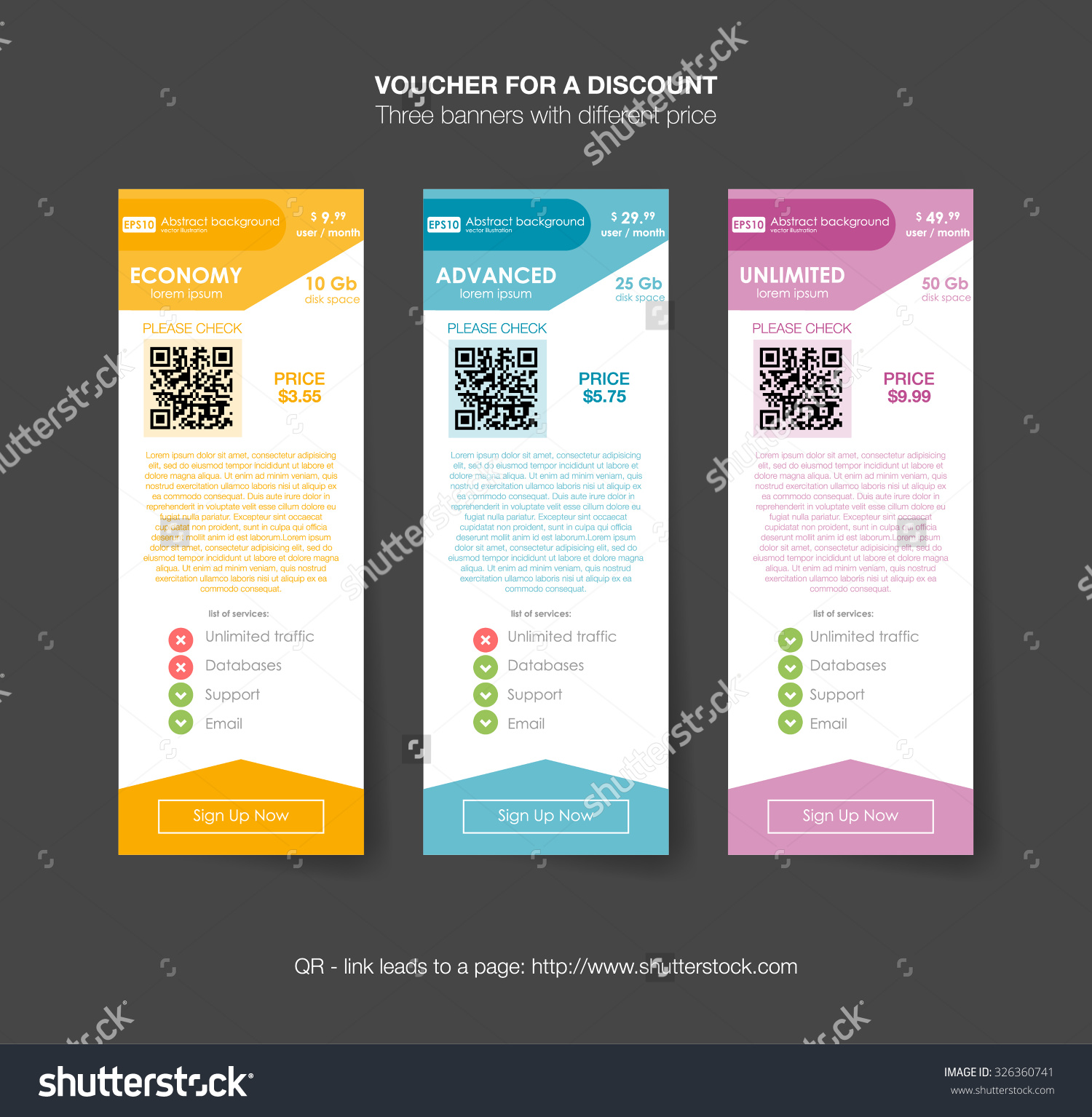 Pricing table template with three plan type graphic for Table design graphic