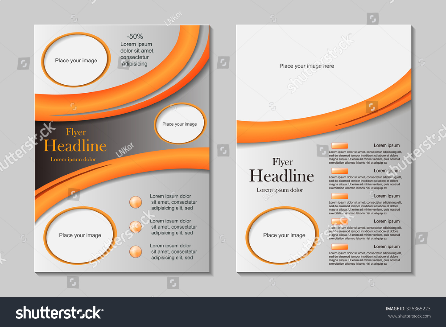 vector flyer template design front page stock vector  vector flyer template design front page and back page business brochure or cover