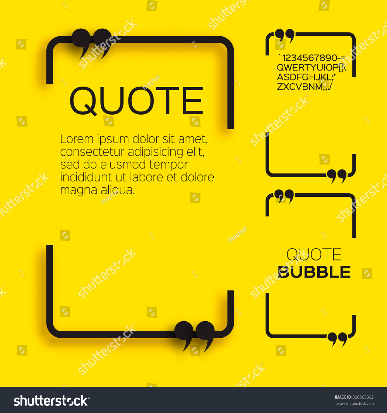 Quote bubble Speech bubble Citation text box template Quote blank