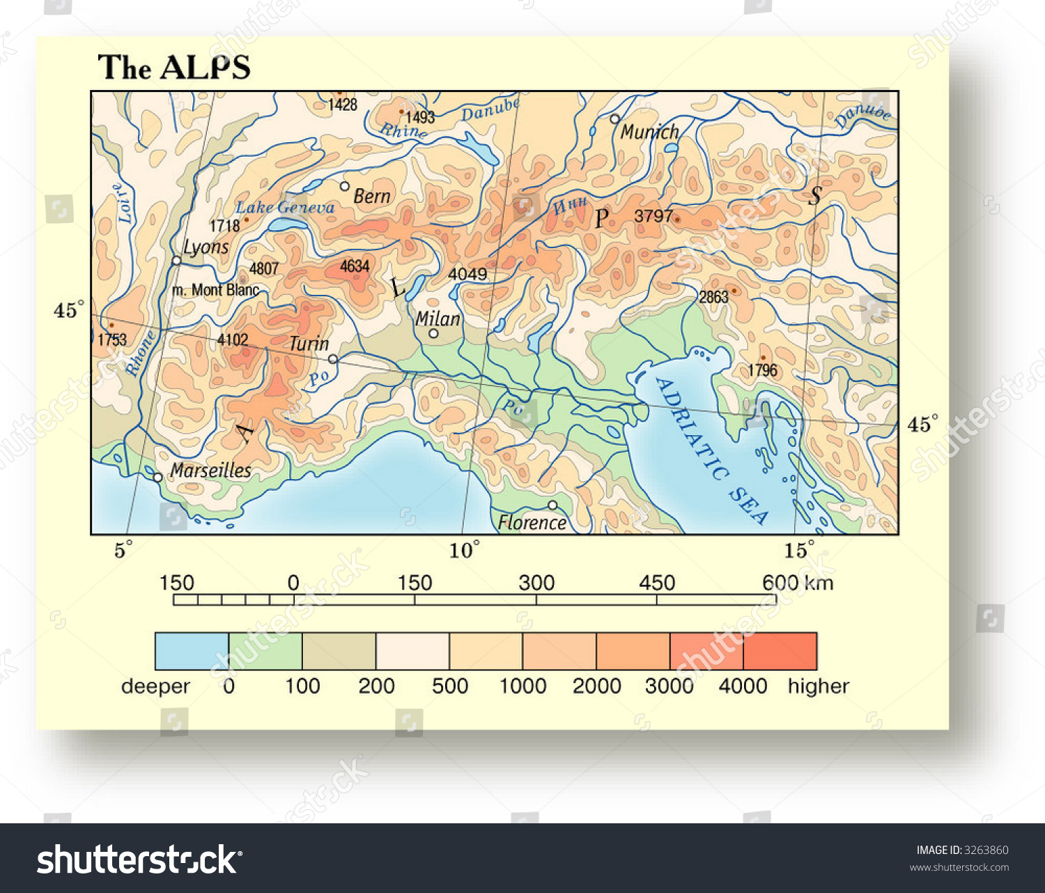 Physical Map Europe Alps Stock Vector Royalty Free 3263860