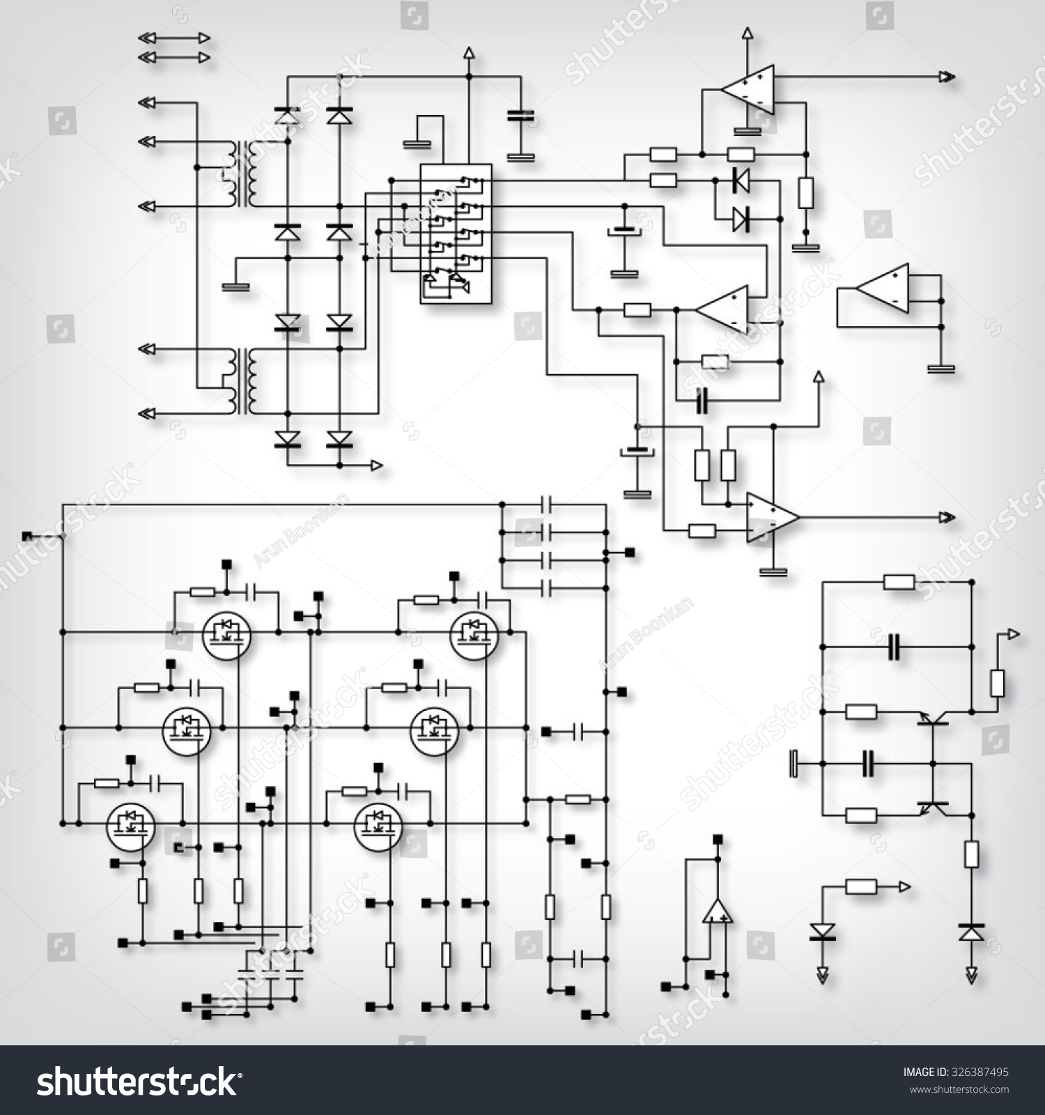 Schematic Diagram Project Electronic Circuit Graphic Stock Vector Of
