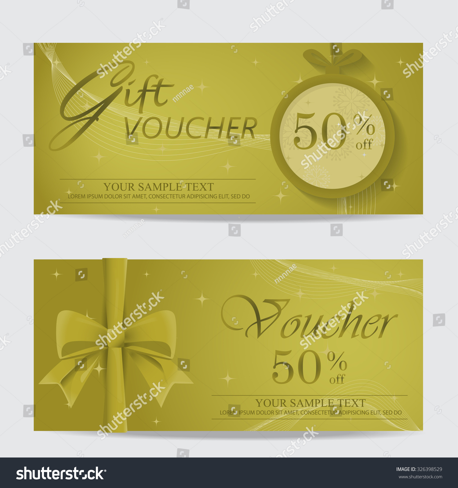 gold christmas and new year gift voucher certificate coupon save to a lightbox