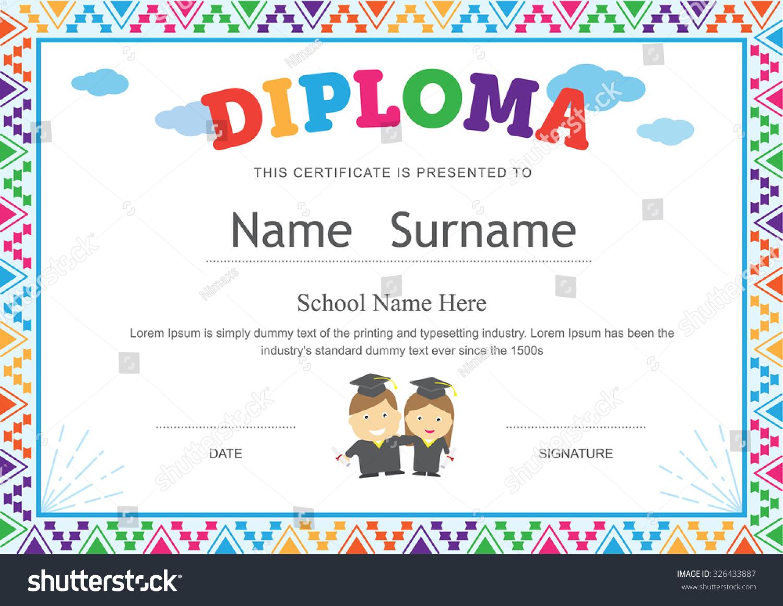 Kids diploma preschool certificate elementary school stock for Pre k award certificate templates