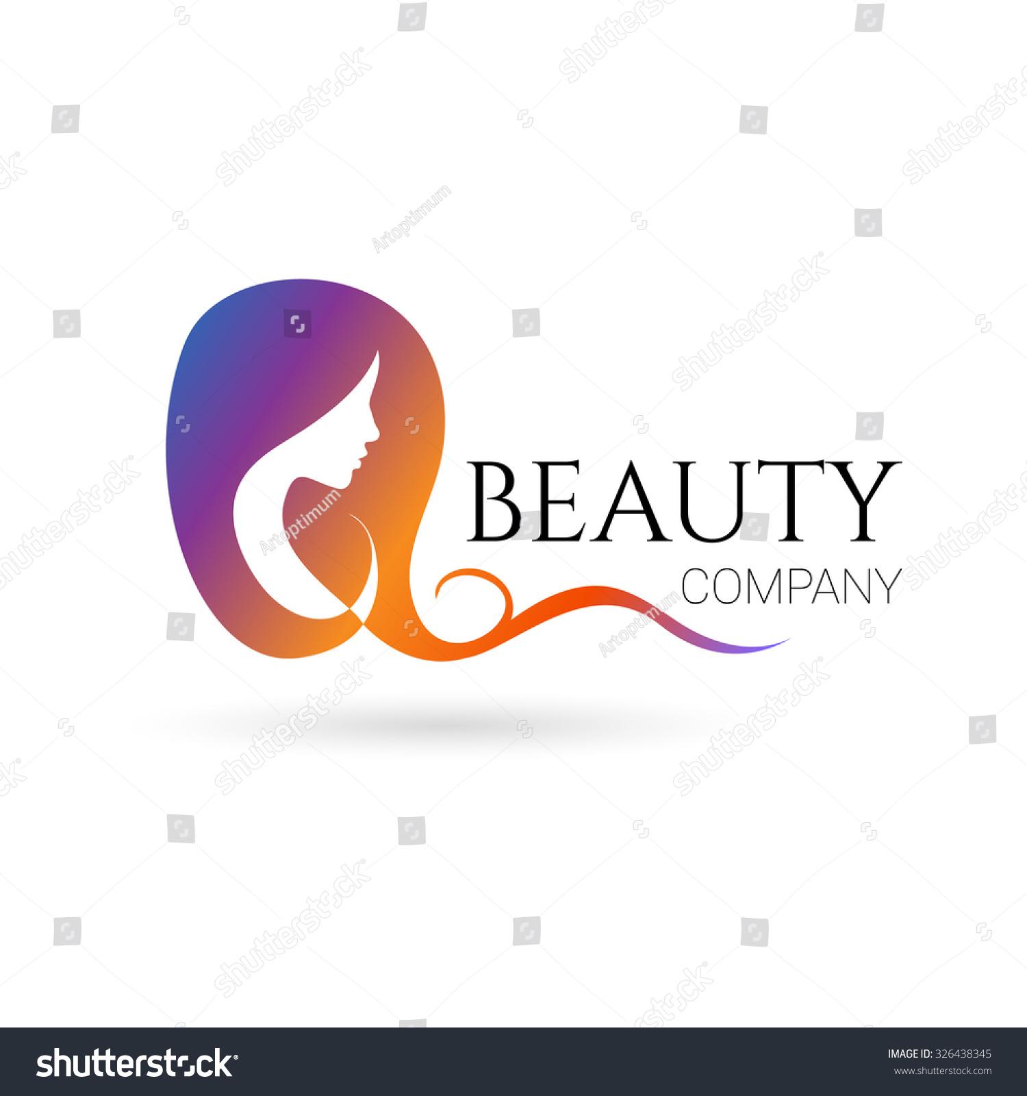 Logo beauty salon company female face stock illustration for Hair salon companies