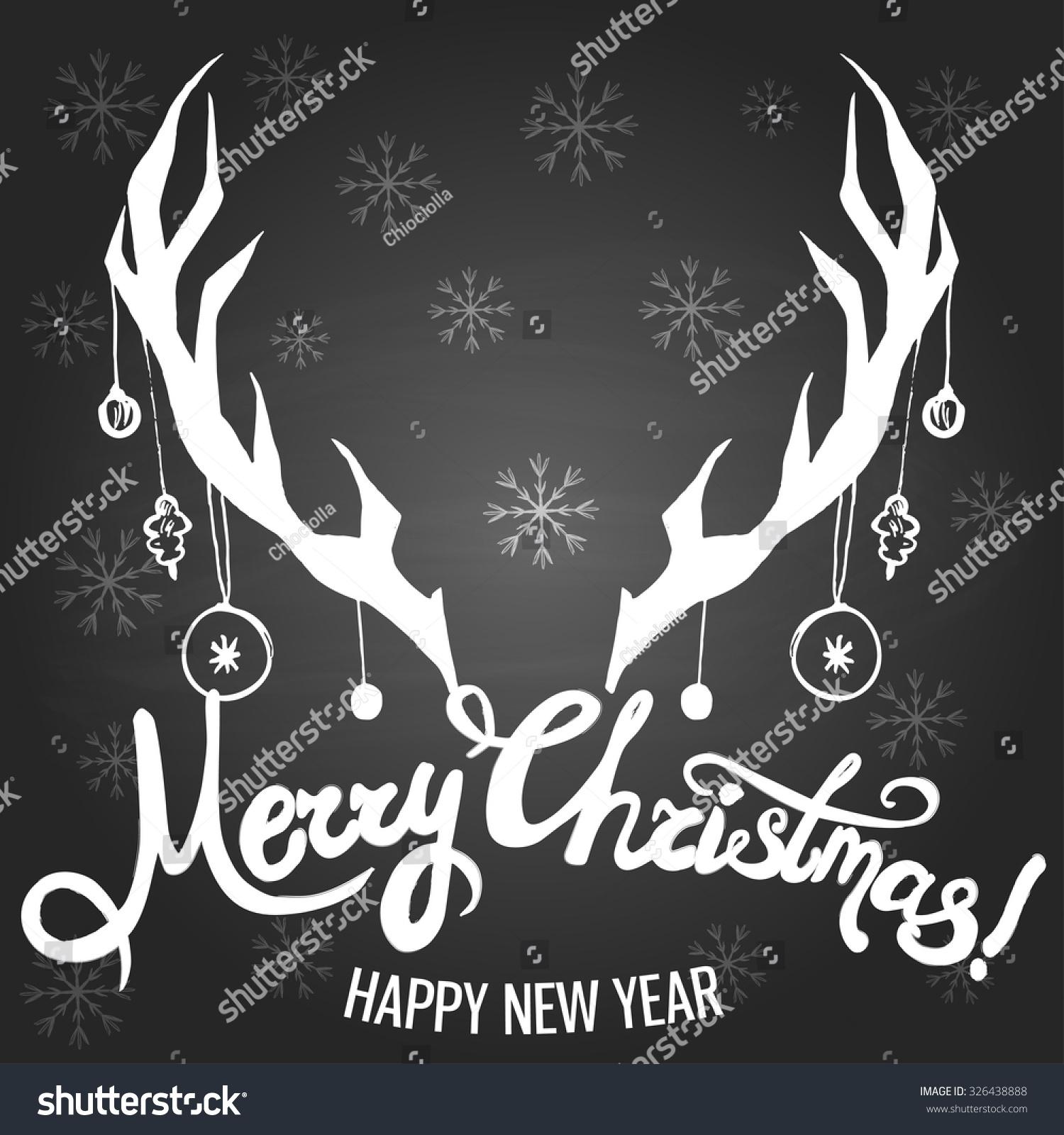 Christmas Template Deer Horns Silhouette Snowflakes Stock Vector