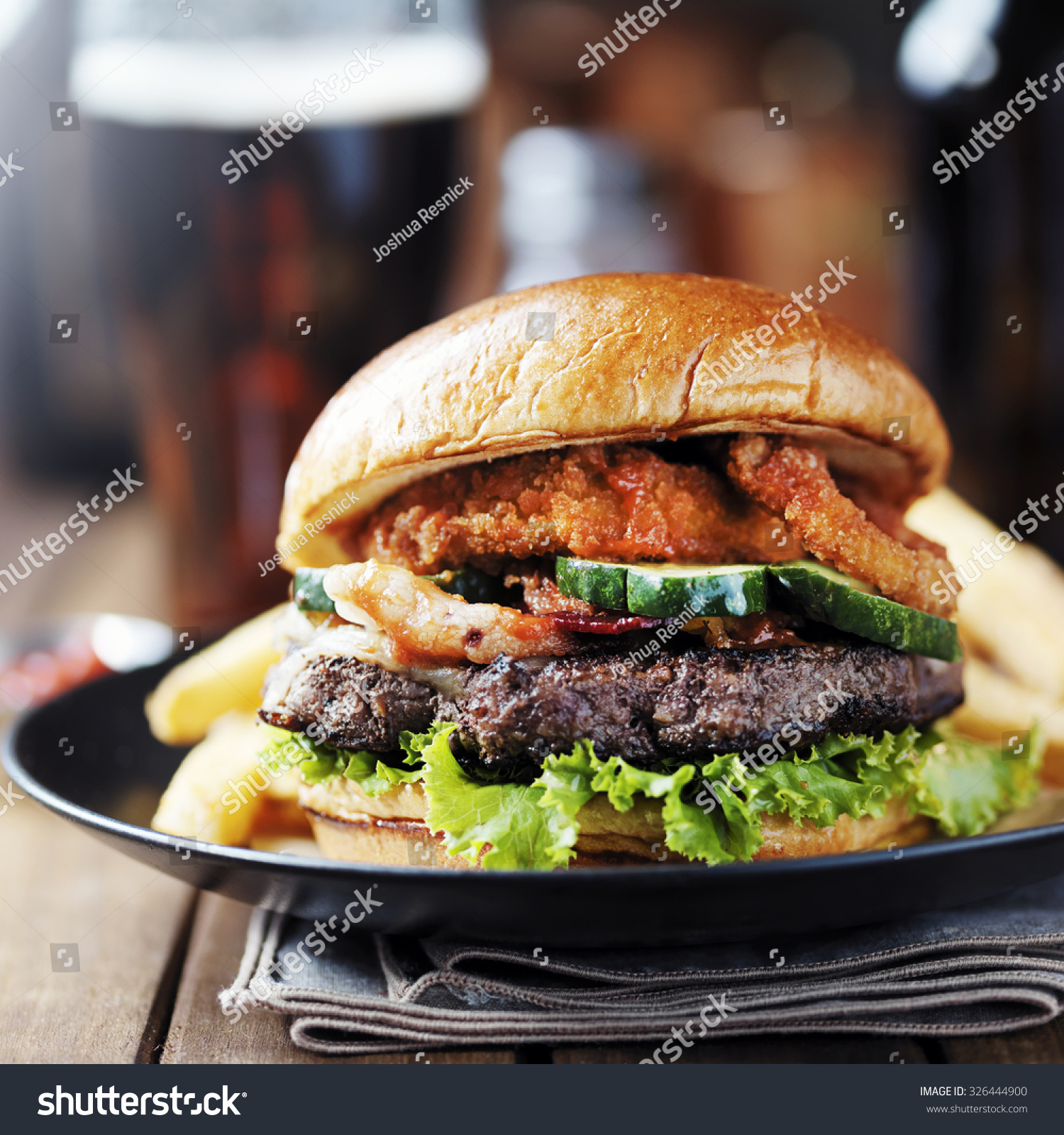 onion ring bacon barbecue burger fries 326444900. Black Bedroom Furniture Sets. Home Design Ideas