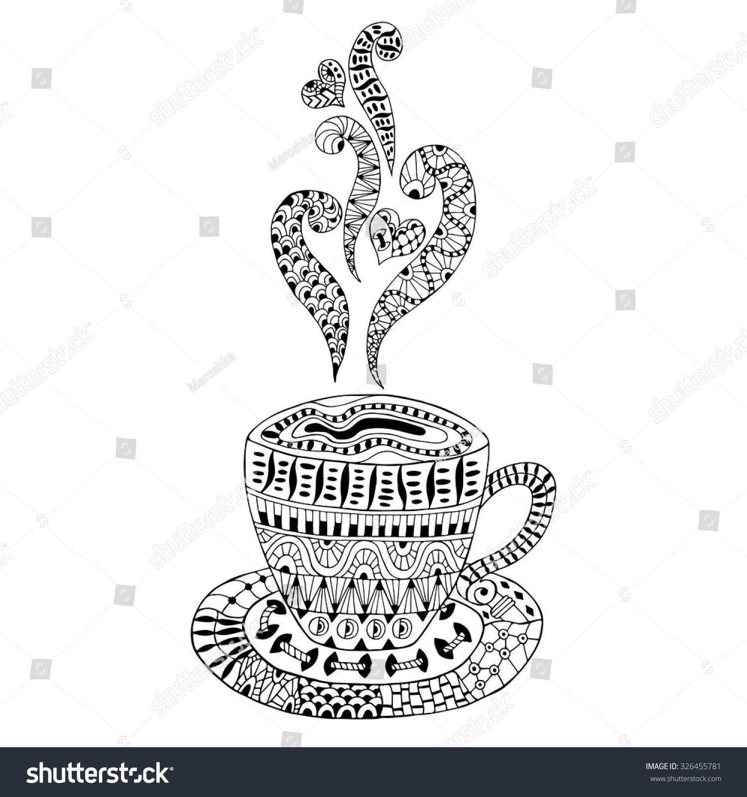Hand Drawn Cup Coffee Cup Tea Stock Vector Royalty Free 326455781