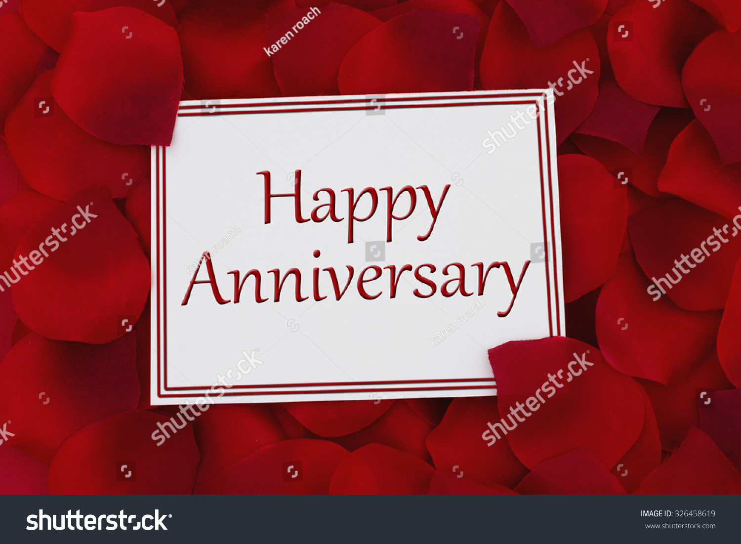 Happy Anniversary Card White Card Text Stock Photo