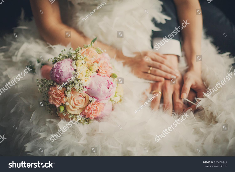Wedding Pastel Bouquet Closeup Front Couple Stock Photo