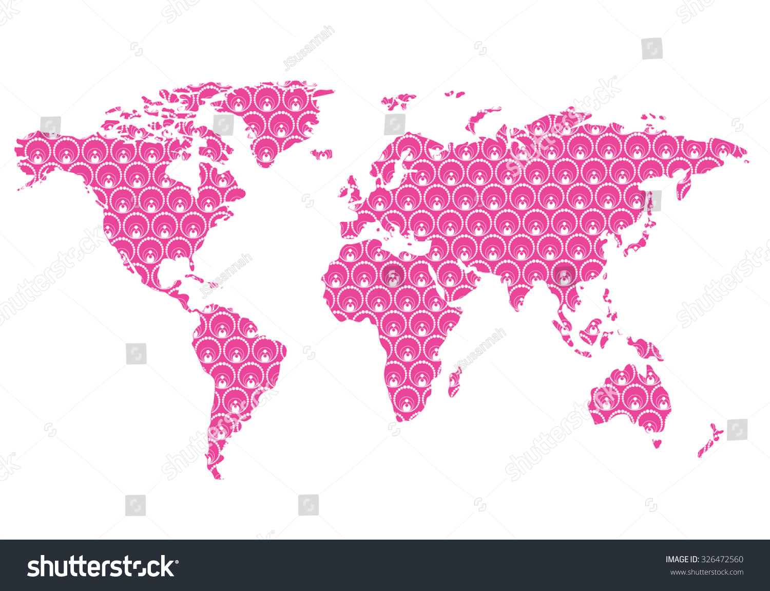 Beautiful world map floral pattern wall stock vector 326472560 beautiful world map with floral pattern wall stickereasy to change colors gumiabroncs Images