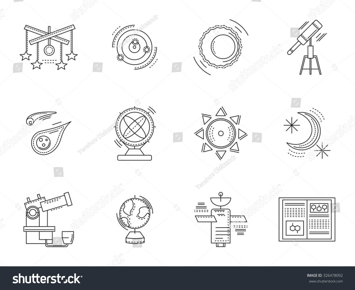 Astronomy symbols space objects set thin stock vector 326478092 astronomy symbols and space objects set of thin flat line style science and education vector buycottarizona