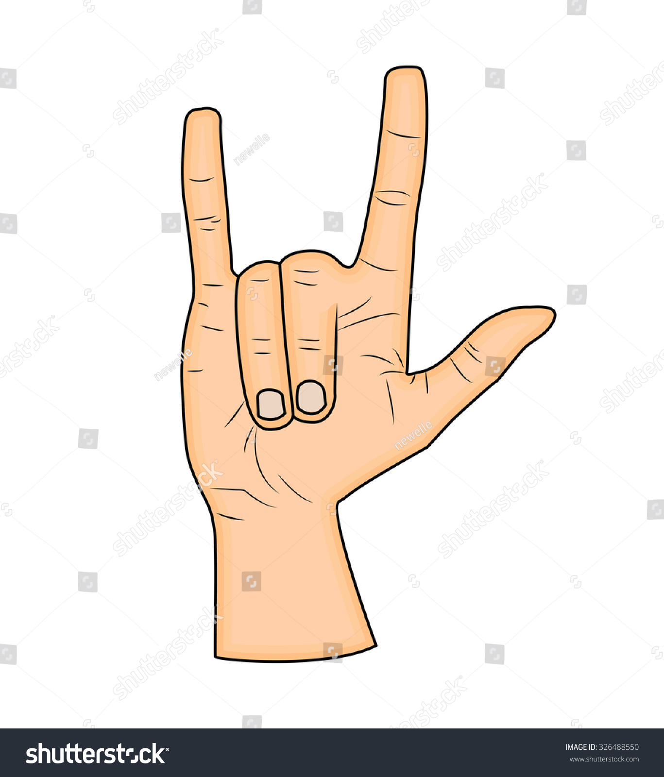 Horns Hand Satan Sign Finger Gesture Stock Vector Royalty Free
