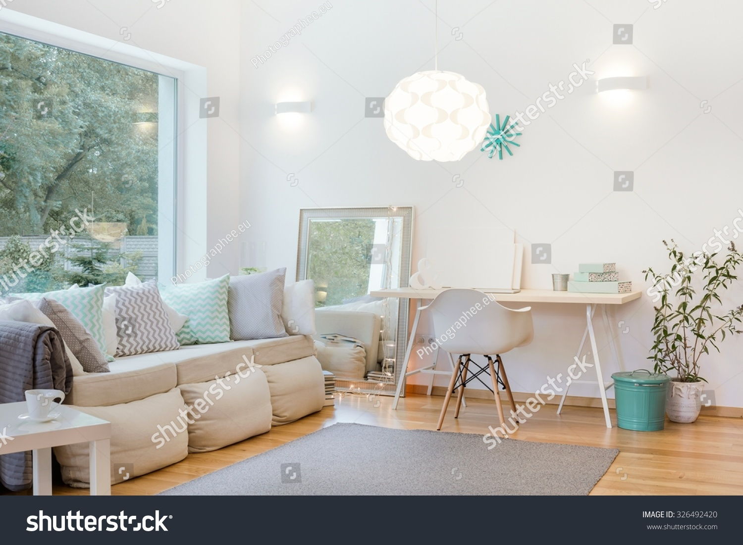 Horizontal Picture Bright Living Room Arrangement Stock Photo ...