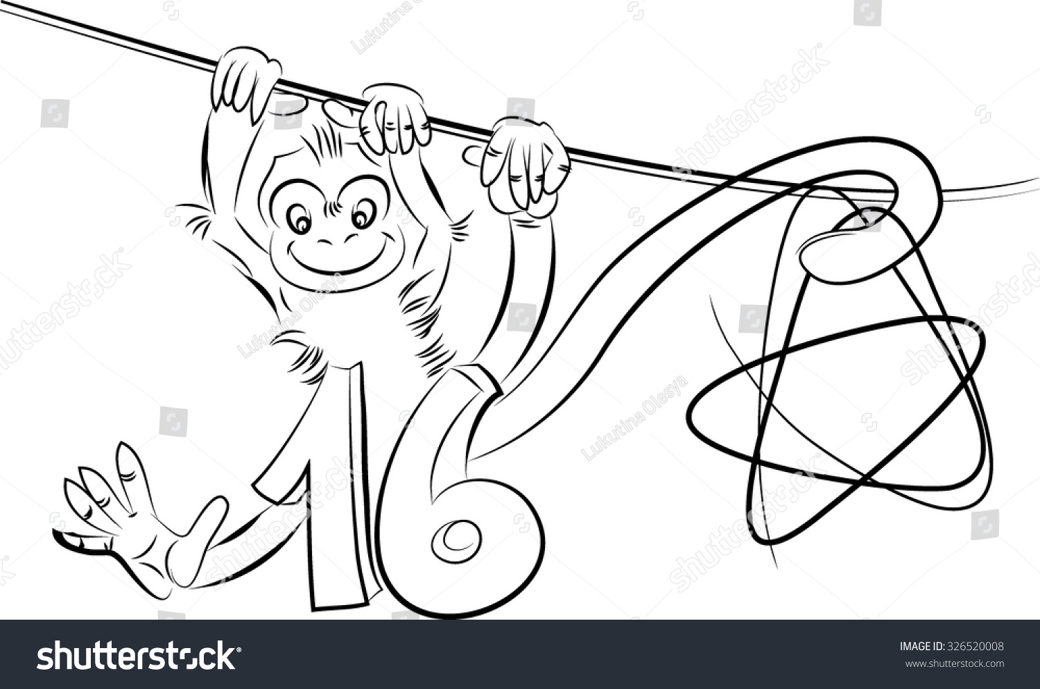 New Monkey Sketch Line Drawing One Color Hanging On The Tail