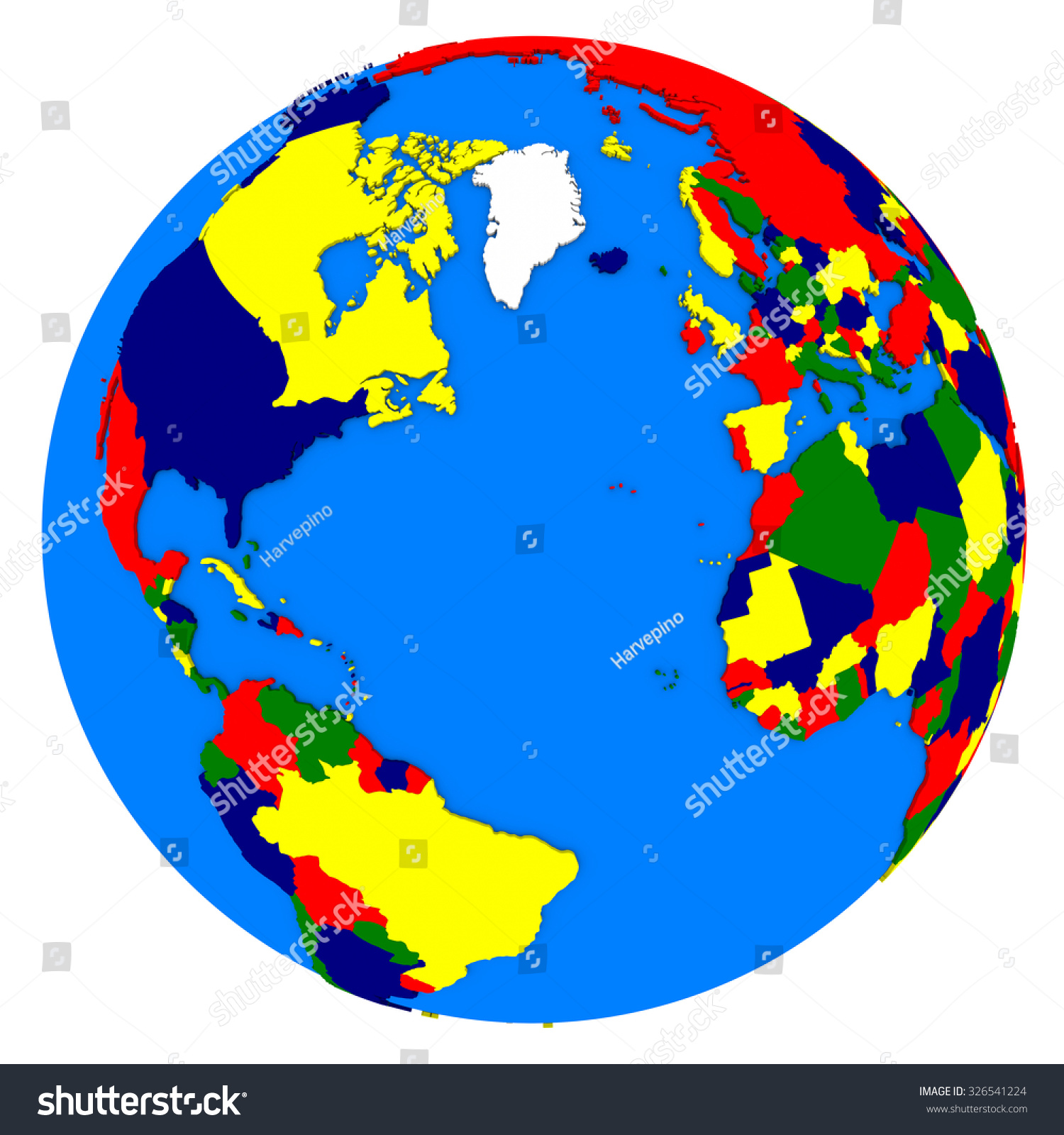 Political Map Northern Hemisphere On Planet Stock Illustration - Earth political map