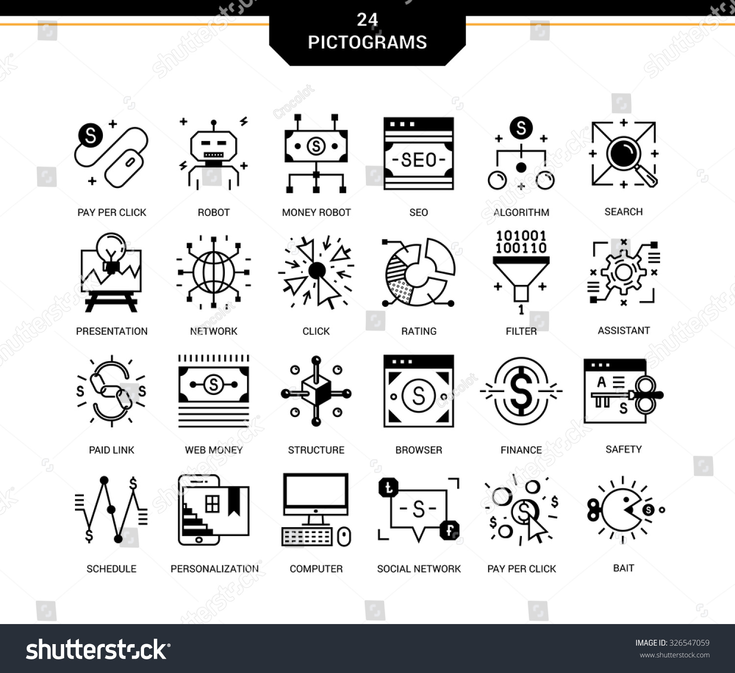 Creative Contemporary Icon Set Linear Style Stock Vector (Royalty