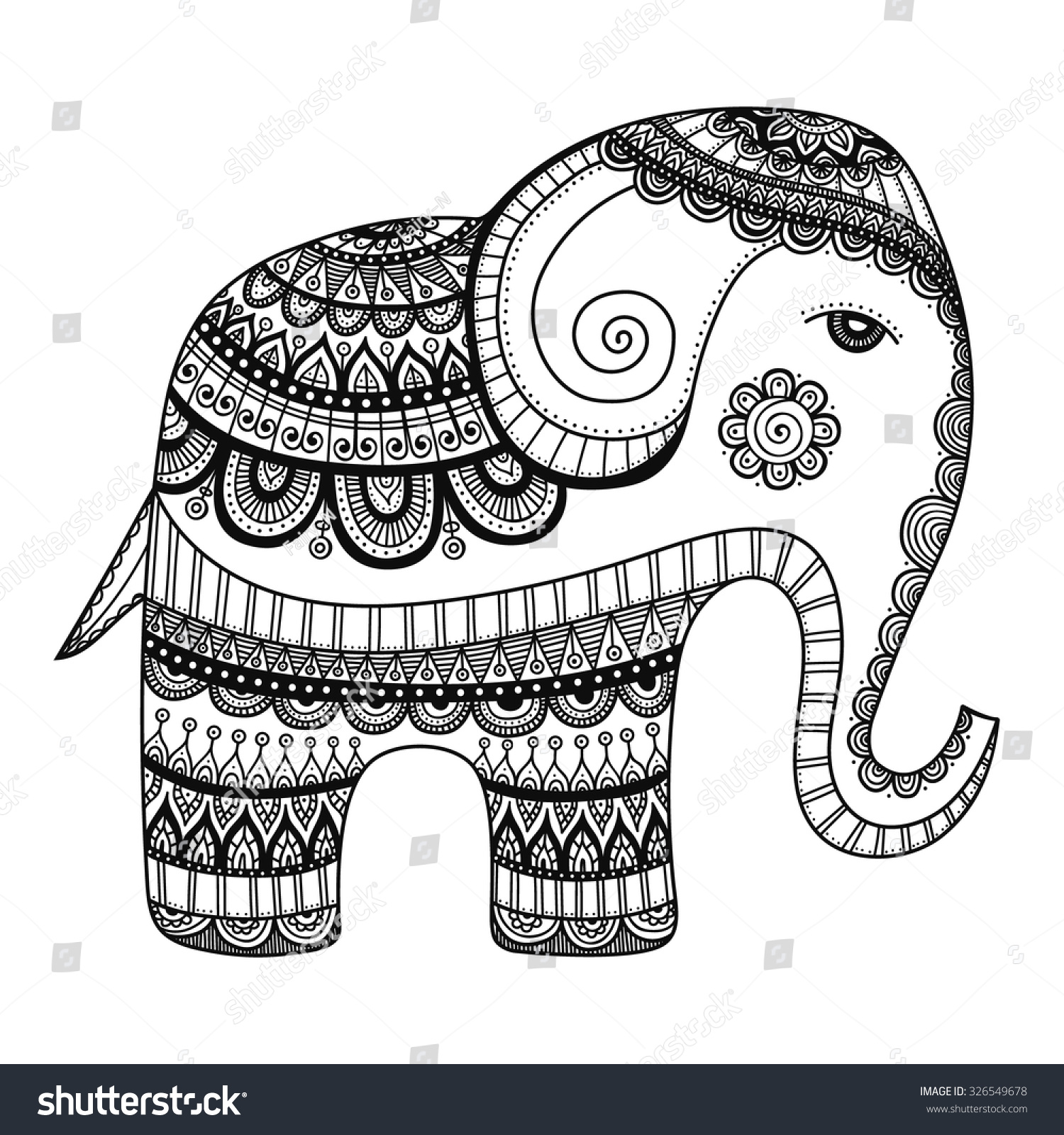 Indian Elephant Hand Drawn Doodle Bishop With Abstract Tribal Ornament Vector Ethnic