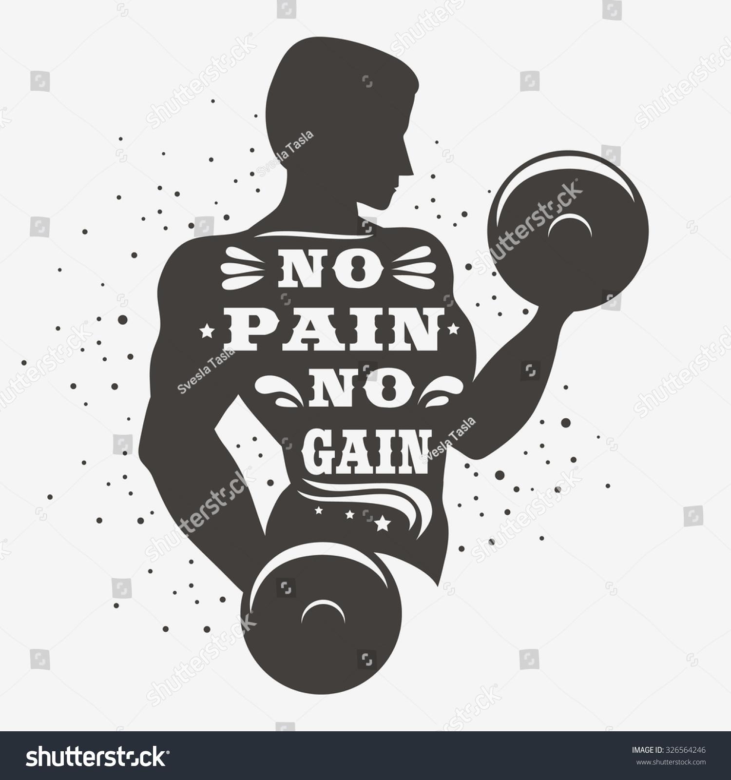 Sportfitness Typographic Poster No Pain No Stock Vector 326564246 - Shutterstock