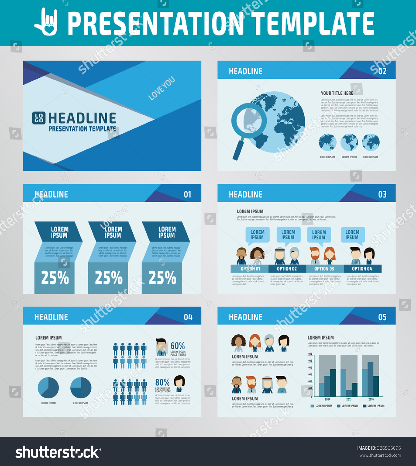 collection multipurpose presentation template icons infographic, Presentation