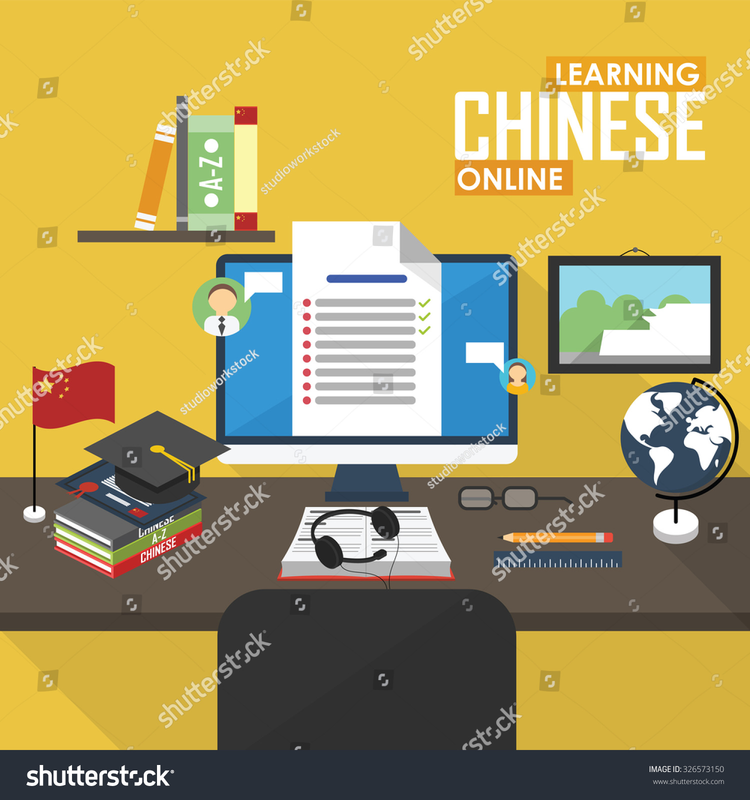 Chinese language learn chinese tutorial lesson stock vector.