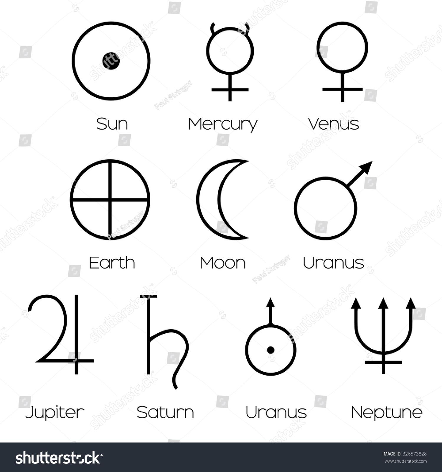 Planet Symbols Illustration Main Symbols Astrology Stock